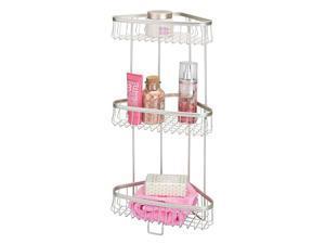Metal 3-Tier Bathroom Corner Shower Shelf - Free Standing Vertical Unit Storage Shelves - for Organizing Soaps, Shampoos, Conditioner, Fash Face, Body Scrubs, Body Washes - 3 Baskets - Satin