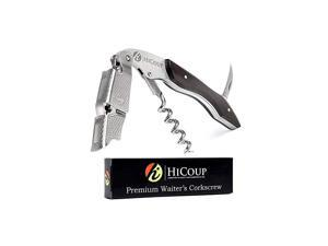 Corkscrew by HiCoup - Professional Ebony Wood All-in-one Corkscrew, Bottle Opener and Foil Cutter, the Favoured Wine Opener of Sommeliers, and Bartenders