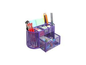 Black Metal Wire Mesh 8 Compartments Office Supply Desktop Organizer Caddy with Drawer