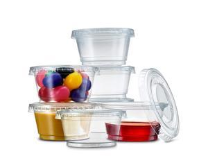 Quality, Durable 2 oz. Portion Souffle Cups with Lids - Leak-Resistant, Tight fit, Easy Snap-on Lids - Clear & Fully Transparent, Disposable Plastic Shot Cups (200 Cups + 200 Lids)