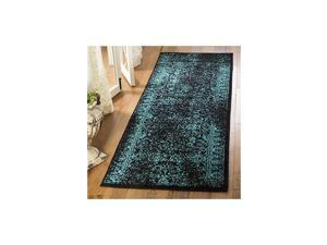 """Adirondack Collection ADR109K Oriental Distressed Non-Shedding Stain Resistant Living Room Bedroom Runner, 2'6"""" x 8' , Black / Teal"""
