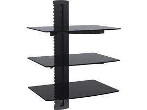 Floating Shelf with Strengthened Tempered Glass for DVD Players, Cable Boxes, Games Consoles, TV Accessories (CS201), 1 Shelf, Black