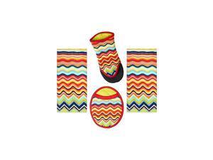 4 Piece  Multicolor Zig Zag Kitchen Set - 2 Terry Towels, Puppet Oven Mitt, Oval Pocket Mitt