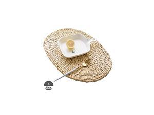 """4Pcs Corn Straw Woven Placemats, Round/Oval Rattan Dining Table Mats, Natural Grass Weave Placemats Handmade, Coaster mat (Corn-4pack, Oval 12""""x18"""")"""