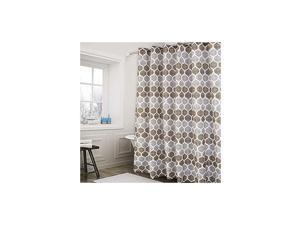 Fabric Shower Curtain, Moroccan Geometric Design Shower Curtain for Bathroom Heavy Textured Fabric Bath Curtain, 72 X 72 Inch, Taupe/Brown
