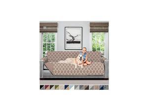 Original Patent Pending Reversible X-Large Oversized Protector for Seat Width up to 78 Inch, Furniture Slipcover, 2 Inch Strap, Couch Slip Cover Throw for Dogs, Sofa, Quatrefoil Mocha