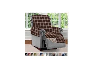 Original Patent Pending Large Recliner Slipcover, Many Colors, Seat Width to 28 Inch, Reversible Furniture Protector with Straps, Reclining Chair Slip Cover for Pets, Plaid Chocolate Beige