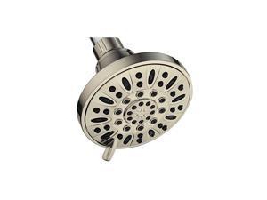"Brushed Nickel High Pressure 6-Setting 4"" Shower Head – Angle Adjustable, Anti-Clog Showerhead Jets, Tool-Free Installation-USA Standard Certified-Top U.S. Brand"