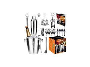 Kit Ice Bucket 3½qt 17pcs. Premium Cocktail Set Mixology Kit for Bar or Home. Stainless Steel Cocktail Shaker Set. E-Book, Alcohol Mixer Set for Men, Women. Drink Accessories Tools