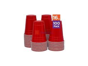 Red [16 oz-100 Pack] Party, Cold Drink Plastic Disposable Cups