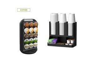 CRUP6-BLK K-Cup Carousel and Coffee Condiment / Cup Organizer, Capacity 30 K-Cups, Black