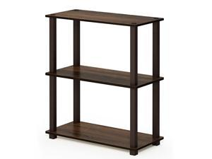 Turn-S 3-Tier Compact Multipurpose Shelf with Square Tubes, Walnut/Brown