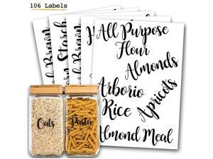 106 Pantry Labels Stickers by  for Kitchen Organization and Storage. Clear Water Resistant, Farmhouse Cursive Script for Food Canisters, Containers, Mason Jars for flour, sugar, coffee