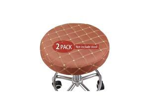 2 Pack Fabric Bar Stool Cover with Extra Thin Padding & Elastic Band Round Chair Seat Cover Cushions Sleeve Breathable Anti-Slip 13 inch Brown