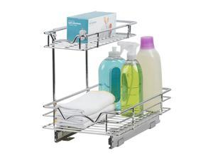 """Sink Organizer For Cabinet, Pull Out Drawer Organizer Perfect For Kitchen/vanity Sink Storage-two Tier Slide Out Cabinet Organizer 11""""wx18""""dx14-1/2""""h, Requires At Least 12"""" Cabinet Opening"""