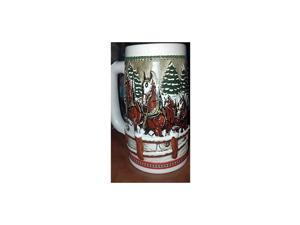 1984  Beer Stein Holiday Stein Clydesdales As They Crossed Covered Bridge