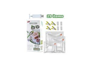 Sous Vide Bags Kit for Anova and Joule Cookers, 20 Packs (3 Sizes) Reusable Vacuum Food Storage Sealer Bags with 1 Hand Pump, 4 Sealing Clips and 4 Clips