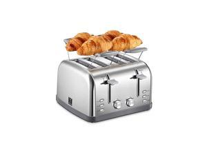 4 Slice Toaster, Bagel Toaster with 7 Bread Shade Settings and Warming Rack, 4 Extra Wide Slots, Defrost/Bagel/Cancel Function, Removable Crumb Tray, Stainless Steel Toaster, Silver