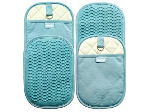 4 Piece Rectangular Pot Holders with Pockets,Heat Resistant to 500 F,Flexible Non Slip Silicone Grip Hot Pads,Teal
