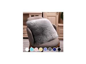 Modern Style Chair Decorative Faux Fur Pillow Case, Backing Hold Pillow Case/Seat Sofa Cushion Square Throw Pillow Cover, 18 x 18inch Grey