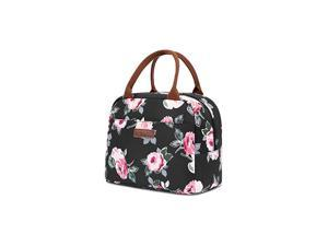 Lunch Bag Cooler Bag Women Tote Bag Insulated Lunch Box Water-resistant Thermal Lunch Bag Soft Liner Lunch Bags for women/Picnic/Boating/Beach/Fishing/Work (Black)