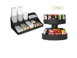 SNACOMORG-BLK Coffee Condiment and Snack Organizer, Home, Office, Breakroom, 2 Pack, Black