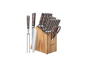 Knife Set, 16-Piece Kitchen Knife Set with Carving Fork, Precious Wengewood Handle for Chef Knife Set with Block, German Stainless Steel,