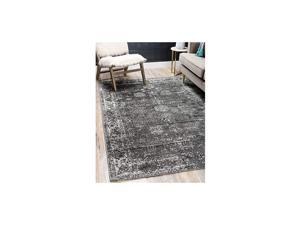 Sofia Collection Traditional Vintage Area Rug, 5' x 8', Dark Gray/Ivory
