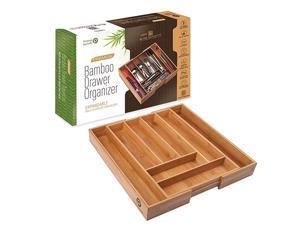 Silverware Tray for Drawer Organizer - Kitchen Drawer Organizer - Cutlery Organizer in Drawer - Silverware Organizer, Flatware Silverware Holder, Expandable Adjustable Wooden Dividers (8-slots)