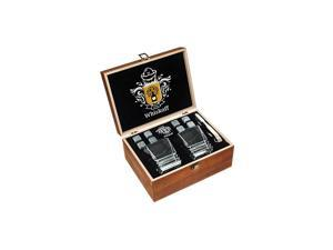 Stones Gift Set - Heavy Base Glasses For Scotch Bourbon Drinker- Whisky Rocks Chilling Stones in Wooden Gift Box - Burbon Gift Set for Men - Idea for Birthday, Anniversary, Fathers Day