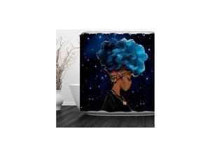 """Black Girl Shower Curtain Afro African American Woman Lady Shower Curtain Hip Pop Bathroom Decor with Hooks,Waterproof Polyester Fabric, 60""""W x 72""""H (150CM x 180CM) - Blue-Haired Black Girl"""