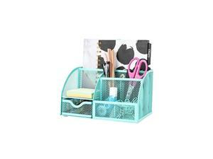 Mesh Desk Organizer Office with 7 Compartments + Drawer / Desk Tidy Candy/Pen Holder/Multifunctional Organizer EX348 Turquoise / Teal Color
