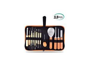 Professional 13 Pieces Halloween Pumpkin Carving Kit Stainless Steel Carving Tools Set with Carrying Case for Halloween Decoration