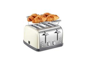 4 Slice Toaster, Bagel Toaster with 7 Bread Shade Settings and Warming Rack, 4 Extra Wide Slots, Defrost/Bagel/Cancel Function, Removable Crumb Tray, Stainless Steel Toaster, Yellow