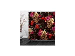 "Skulls Shower Curtain Sugar Roes Flowers Skull Skeleton Halloween All Saints Day Black and White Waterproof Bathroom Decor with hooks,60""W x 72""H (150CM x 180CM) - Skulls and Poppy Flowers"