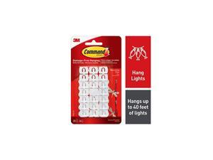 Small Decorating Clips, White, 20-Clips, 24-Strips, Decorate Damage-Free