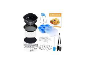 Air Fryer Accessories 11 pcs with Recipe Cookbook Compatible for Philips Air Fryer, COSORI and other AirFryers and Oven, Deluxe Deep Fryer Accessories Set of 12 (8 inch)