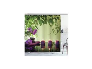 """Spa Shower Curtain, Stones Aromatic Candles and Orchids Blooms Treatment Vacation, Cloth Fabric Bathroom Decor Set with Hooks, 70"""" Long, Pale Green Fern Green"""