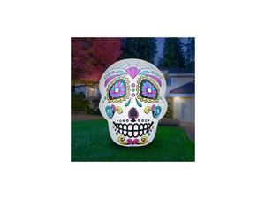 4 Ft Airblown Inflatable Halloween Skull - Inflatable Halloween Decoration Super Bright Internal Lights, Built-in Fan Anchor Ropes