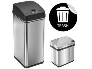 """13 Gallon and 2.5 Gallon Automatic Touchless Sensor Kitchen Cans with Odor Control System, Stainless Steel, Includes 1 Waterproof Reusable """"TRASH"""" Vinyl Sticker"""