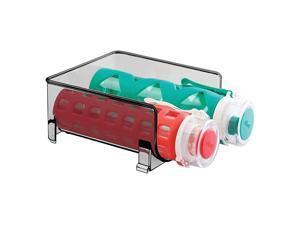 Plastic Freestanding Water Bottle Storage Organizer for Kitchen Countertop, Table, Pantry, Fridge - Holds Water Bottles, Pop/Soda, Wine, Beer - Stackable, Holds 2 Bottles - Smoke Gray