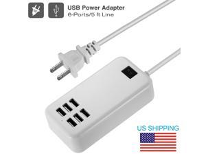 Multi 6 Port USB Desktop Travel Charger Fast Charging Ston Wall Power Adapter