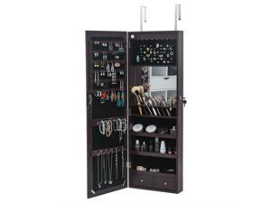 Wall/ Door Mounted Jewelry Cabinet Armoire Jewelry Box Organizer w/ Mirror LED