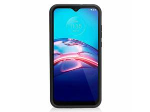 For  Moto E 2020 Blue Black Hard TPU Hybrid Brushed Case Cover w/stand