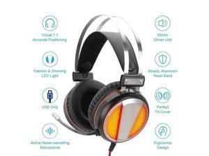 7.1 Surrounding Wired Gaming Stereo Headset LED Lights Headphone Mic for Gamer