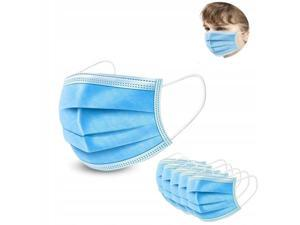 100PCS Kids mask Disposable Face Mask 3 Layers Anti Dust Infection Bacteria Protective Mask Breathable With Ear Loops for 3 to 12 years old 3 to 12 years old Children (Blue)