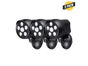 Wasserstein Outdoor Battery Powered Spotlight with Motion Sensor - Give the Best Vision to your Arlo, Ring, Google Nest, Blink and Wyze Cameras (3 Pack, Black)