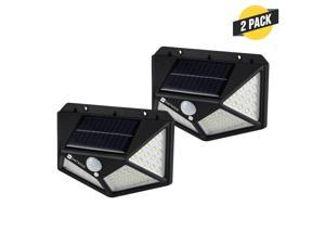 Dartwood Outdoor Solar Lights with Motion Sensor - 100 LED 450 Lumens Bright Weatherproof Wall Spotlight for Gardens Porches Walkways Patios (2 Pack)