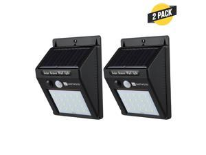 Dartwood Outdoor Solar Lights with Motion Sensor - 20 LED 150 Lumens Bright Weatherproof Wall Spotlight for Gardens Porches Walkways Patios (2 Pack)