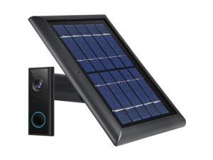 Wasserstein Weatherproof Solar Panel Compatible with Eufy Video Doorbell 2K (Battery-Powered) - Continuous Charging for Maximum Efficiency (Black)